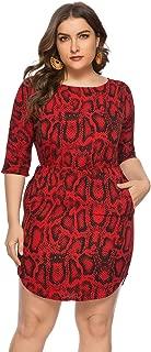 Women's Dress One-Word Collar Leopard Slit Large Size Beach Holiday Dress, Banquet Ball Wedding Evening Dress (Color : Red, Size : XXXXXL)