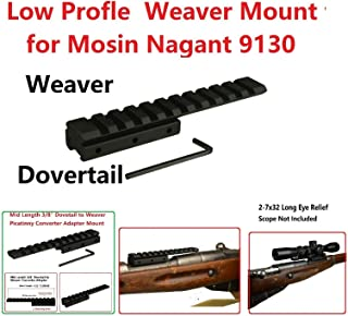 GOTICAL Low Profile Mosin Nagant 91/30 Scope Mount Weaver Picatinny Rail Mid Length