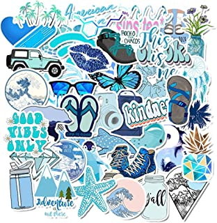 Vsco Stickers for Hydroflasks, 50Pcs Vsco Girl Stickers Aesthetic for Water Bottles for Girls Pad MacBook Car Snowboard Bicycle Luggage Decal (Blue)