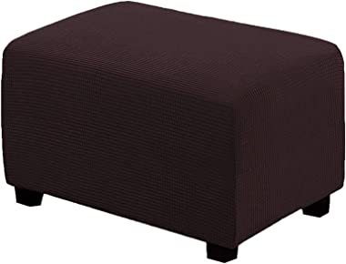 Stretch Ottoman Cover Waterproof, Check Textured Footstool Cover Soft Footstool Protect Pouf Cover Non Slip Ottoman Slipcover