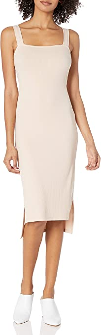The Drop Women's Amelia Square Neck Strappy Bodycon Midi Tank Dress