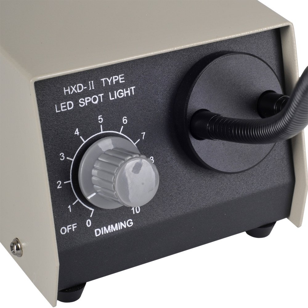 Omano 8W LED Dual Gooseneck Microscope Illuminator - Compact Footprint - 720 Lumens - Adjustable LED