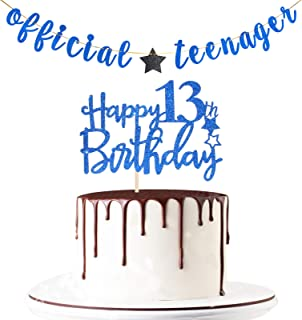 Maicaiffe Blue Glitter Official Teenager Banner with Happy 13th Birthday Cake Topper - Teen's 13th Birthday Party Decorati...