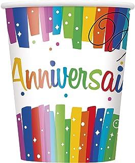 Unique Party 56906-9oz Rainbow Ribbons Joyeux Anniversaire Paper Cups, Pack of 8