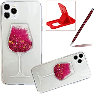 Herzzer 3D Glitter Clear Case for iPhone 12 Pro/12,Stylish Goblet Wine Glass Liquid Quicksand Flowing Floating Bling Anti-...