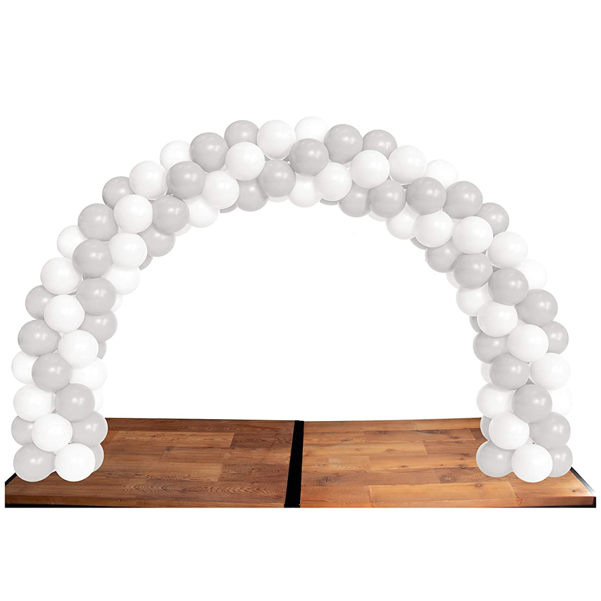 Balloon Arch Kit with 40 White and 40 Silver Balloons - Balloon Table Arch Set for Birthdays, Special Events, Weddings, Anniversaries, Baby Showers, Corporate Events, 12-inch Diameter Balloons