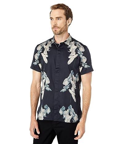 John Varvatos Star U.S.A. Loren Slim Fit Short Sleeve Sport Shirt Concealed Button Front W690W2B