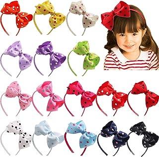 16Pack Grosgrain Ribbon Headband 6Inch Polka Dot Hair Bows Plastic Headbands Hairbands Hair Hoops Hair Accessories for Bab...