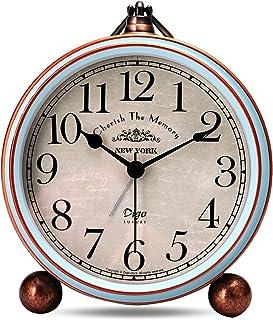 comprar comparacion Lafocuse 13.3cm Despertador Analógico Metal Grandes Vintage de Noche Reloj de Mesa Silencioso Azul para Infantil Dormilones
