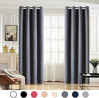 MAEVIS 99% Blackout Curtains 2 Panels for Bedroom Grommet Top,Light Blocking Draperies Room Darkening Thermal Insulated Window Curtain for Living Room(W52xL63 inch,Dark Grey)
