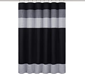 "Comfort Spaces Windsor Bathroom Shower Pieced Ruffle Pattern Modern Elegant Microfiber Fabric Bath Curtains, 72""x72"", Black Grey"