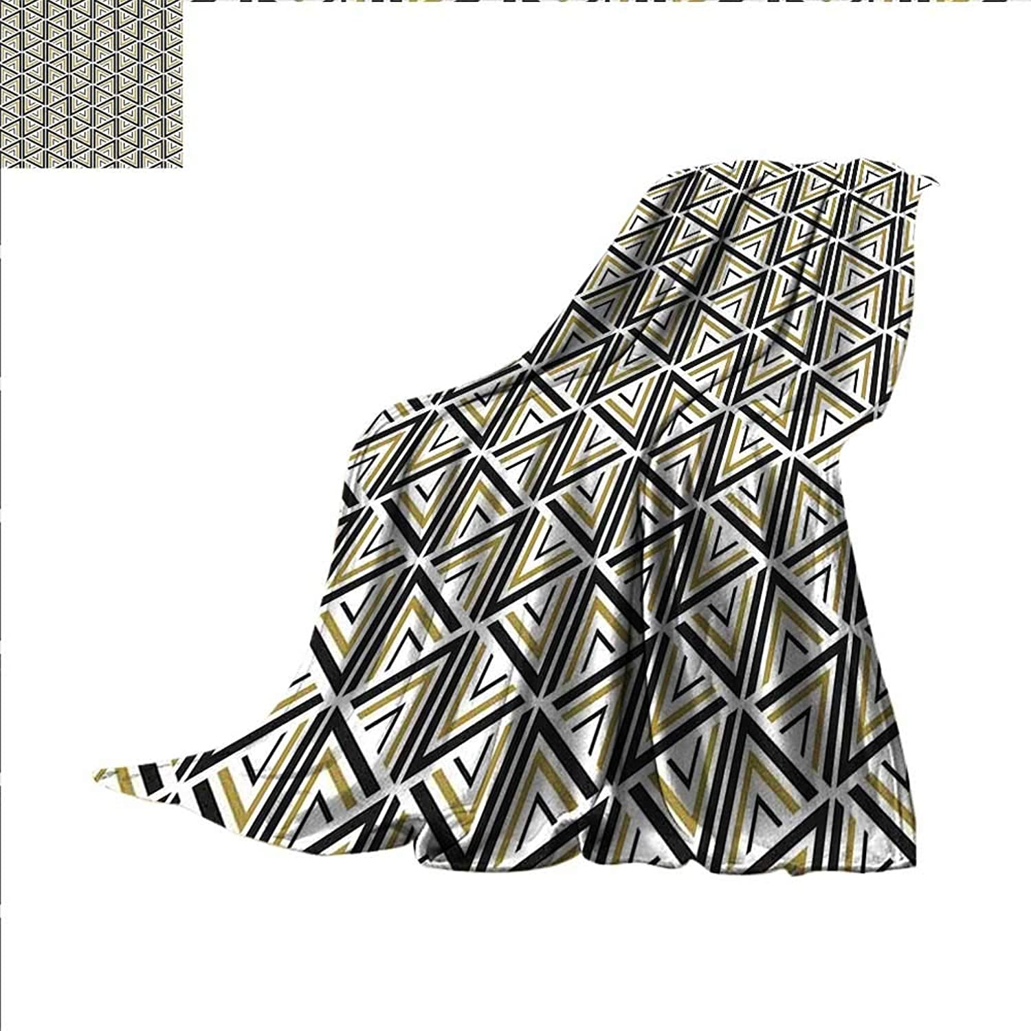Smallbeefly Geometric Digital Printing Blanket Modern Stylish Triangle and Diamond Repeating Line Tiling Figures Image Summer Quilt Comforter 60 x50  Mustard and Black