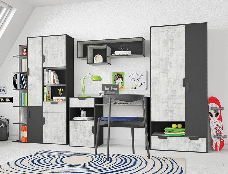 QMM Traum Moebel Jugendzimmer Kinderzimmer komplett NOAH Set A Schrank Schreibtisch 3 Regale