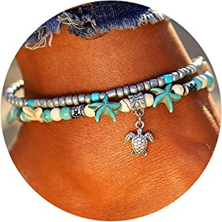 FINETOO Blue Starfish Turtle Anklet Multilayer Charm Beads Sea Handmade Boho Anklet Foot Jewelry for Women