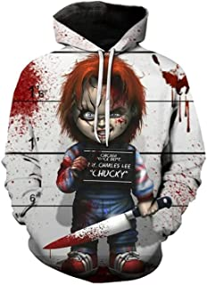 life it New Chucky Scarred Good Guy Doll 3D Print Sweatshirt Cosplay Hoodies