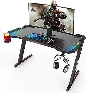 CNASA Gaming Desk,Gaming Table,Gaming Desk with led Lights,RGB Desk, Black Gaming Desks Workstation with RGB LED Lights,Cu...