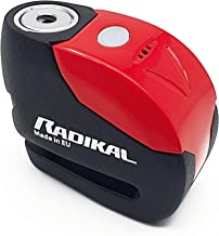 Radikal RK9 Anti-diefstal hangslot Motorfiets schijfalarm 120 Db Universele led-waarschuwing, rood, 6 mm
