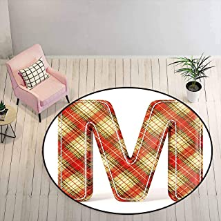Outdoor Patio Rug 6.5 ft Round - Letter M Floor Mat Colorful Capital Letter Fabric Theme Stitch Marks Image Print, Vermili...