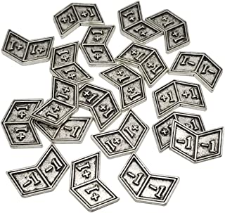 Set of 20 Metal Buff Counters, Token, Creature Stats or Loyalty, Double Sided +1/+1 and -1/-1 for CCG, MTG Magic: The Gathering, Silver Tone