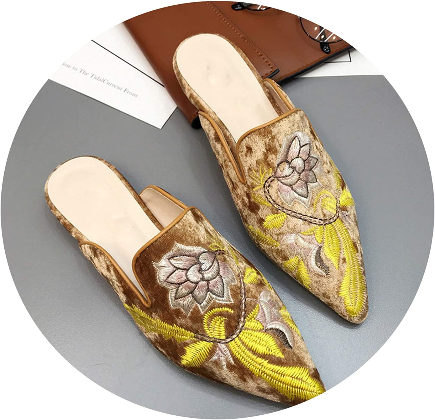 Monicas-house gold Velvet Women Embroidery Flower Slippers Pointed Toe Flock Flat Moccasins Embroider Floral Loafers Flats