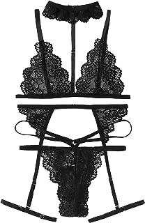 d17aafc18e SweatyRocks Women s Lace Babydoll Sexy Bridal Lingerie Strappy Lingerie Bra  Panty Set