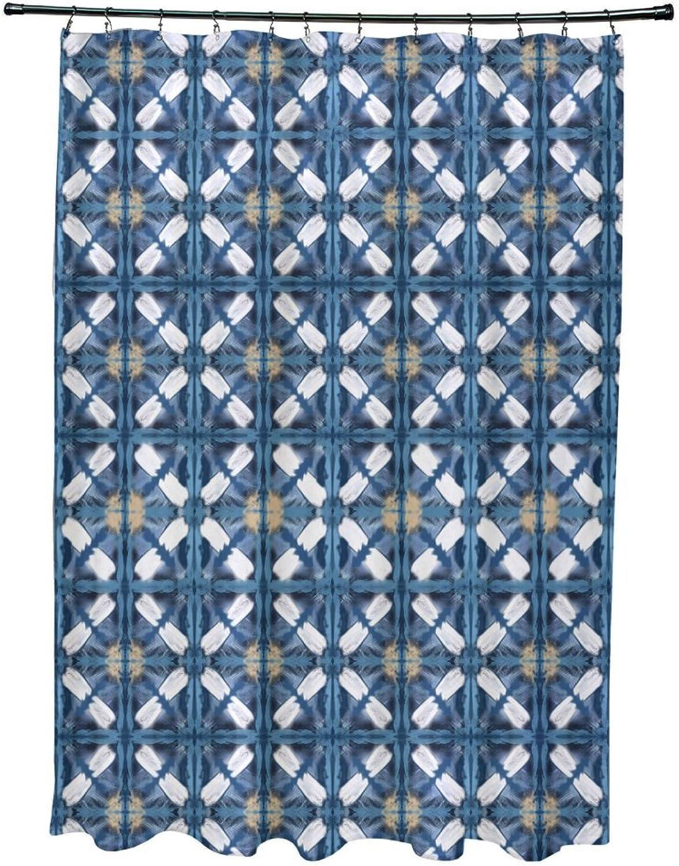 E by design Beach Tile Geometric Print Shower Curtain 71  x 74  bluee