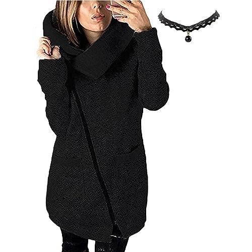 M-Queen Mujer Abrigo de Cremallera con Capucha Chaqueta Sudadera Oblicua Larga de la Capa de la Chaqueta Con Capucha Ocasional de Las Outwear
