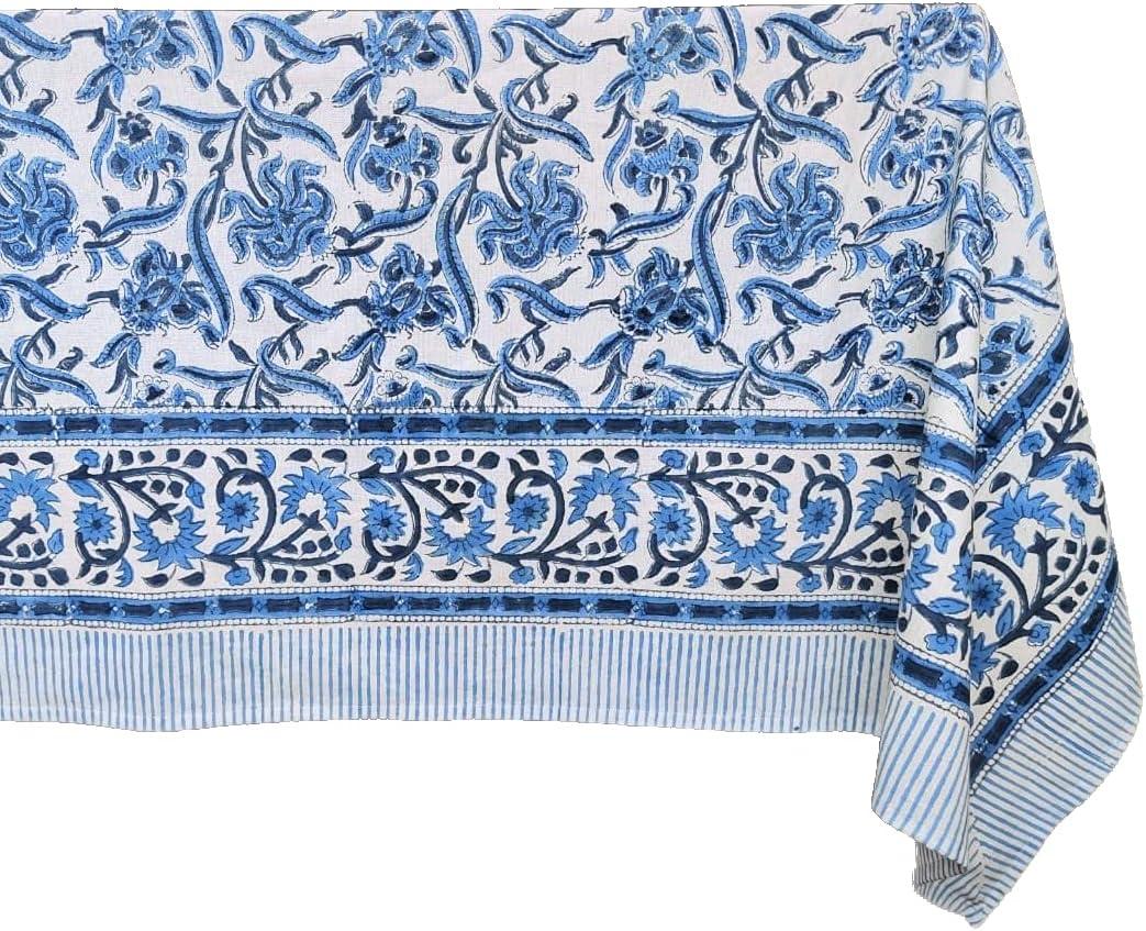 ATOSII 'Midnight Bloom' 100% Super-cheap Cotton Tablecloth New York Mall Print Handblock