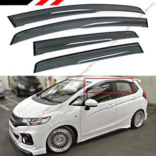 Cuztom Tuning Fits for 2015-2019 3rd Gen Honda FIT GK5 JDM 3D Style Smoked Clip-On Type Window Visor Rain Guard