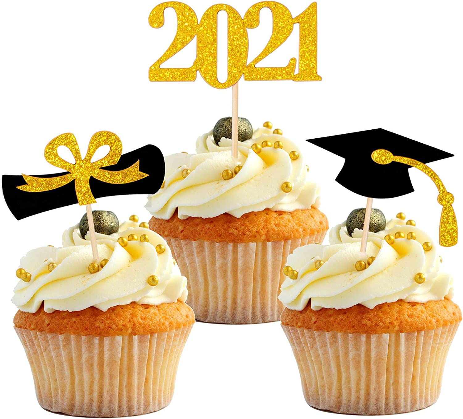 Qibote 1 year warranty Graduation Cupcake Max 77% OFF Toppers Dec 2021 Cake Party