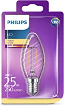Philips LED Classic ST35 Filament Twisted Candle Warm White Light Bulb, Glass, Clear, E14, 2 W