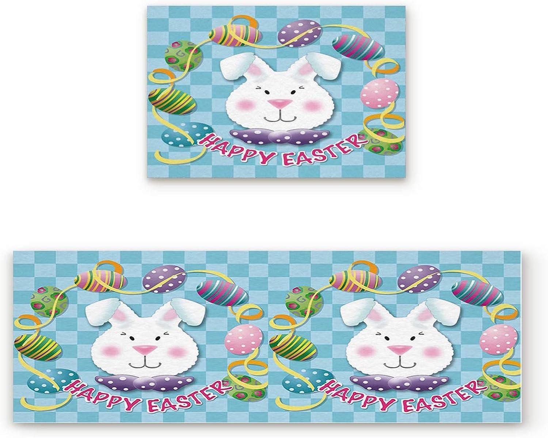 KAROLA 2 Piece Non-Slip Kitchen Mat Doormat Runner Rug Set Thin Low Pile Indoor Area Rugs Happy Easter Rabbit 19.7 x31.5 +19.7 x47.2