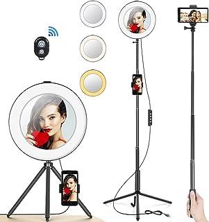 LED-ringlampa 20 cm med spegel- och stativstativ och telefonhållare för Youtube makeup, MACTREM Ringlight skrivbordskamera...