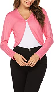HOTOUCH Women Long Sleeve Bolero Shrug Light Knit Cropped Cardigan Open Front Thin Jacket