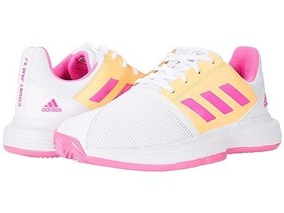 adidas Kids CourtJam X Tennis (Little Kid/Big Kid) (White/Screaming Pink/Acid Orange) Kids Shoes
