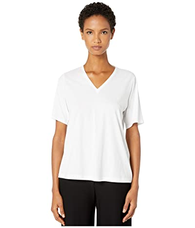 Eileen Fisher Organic Cotton Jersey V-Neck Short Sleeve Top (White) Women