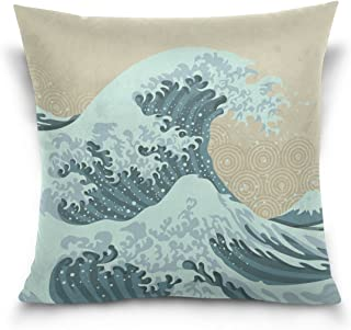 Hokkien Blue Viper Beautiful Wave in Japanese Style Decorative Square Throw Pillow Case Cushion Cover for Sofa Bedroom Car Double-Sided Design 18 x 18 inch