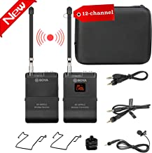 12-Channel Wireless Lavalier Microphone for Smartphone Camera, BOYA BY-WFM12 VHF Lapel Mic System for iOS iPhone X 8 7 7plus iPad Canon Nikon DSLR DV Camcorders Audio Recorder Vlog YouTube Video Live