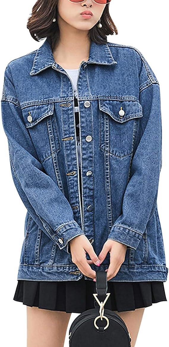 Blue jean jacket for women | Stylish blue oversized denim jacket for fall wardrobe | Vamp your style with a classic denim jacket