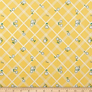 Penny Rose Calico Crow Plaid Yellow Fabric by The Yard
