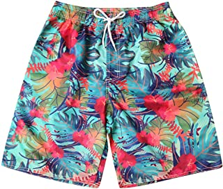 Vickyleb Shorts Swim Trunks Couples Surfing Running Swimsuit Watershort Casual Stripe Painted Boardshorts with Pocket