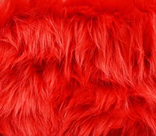 Faux Fur Fabric Long Pile Monkey Shaggy FIRE RED / 60