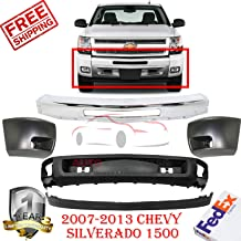 Front Bumper Kit for 2007-2013 Silverado 1500 2500 3500 Primed W/Fog Light Hole W/o Tow Hook Holes Front Bumper End Left Hand & Right Hand Side 5 pc GM1004147 GM1005147 GM1002831 GM1092191 GM109219