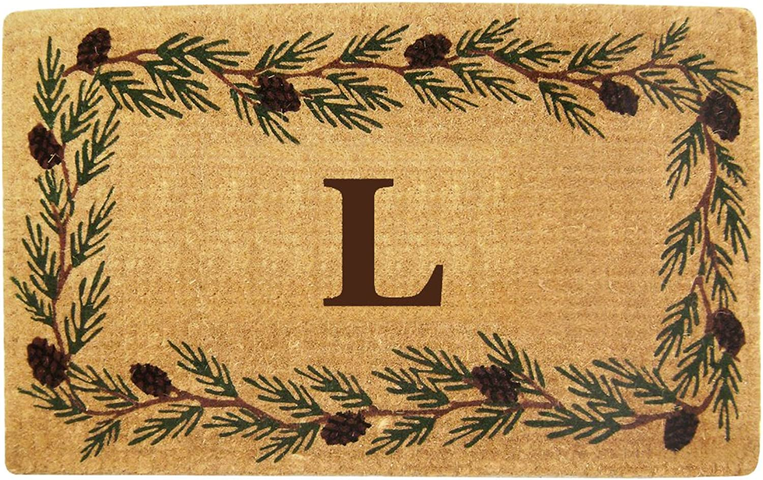 Nedia Home Heavy Duty Coco Mat with Evergreen Border, 30 by 48-Inch, Monogrammed L