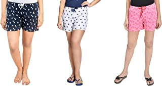 Club A9 Women's Cotton Printed Regular Shorts (Pack of 3)