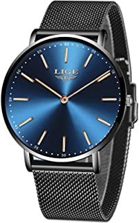 LIGE Mens Watches Black Slim Stainless Steel Watch Fashion Simple Watch for Men Business Dress Analogue Quartz Wrist Watches