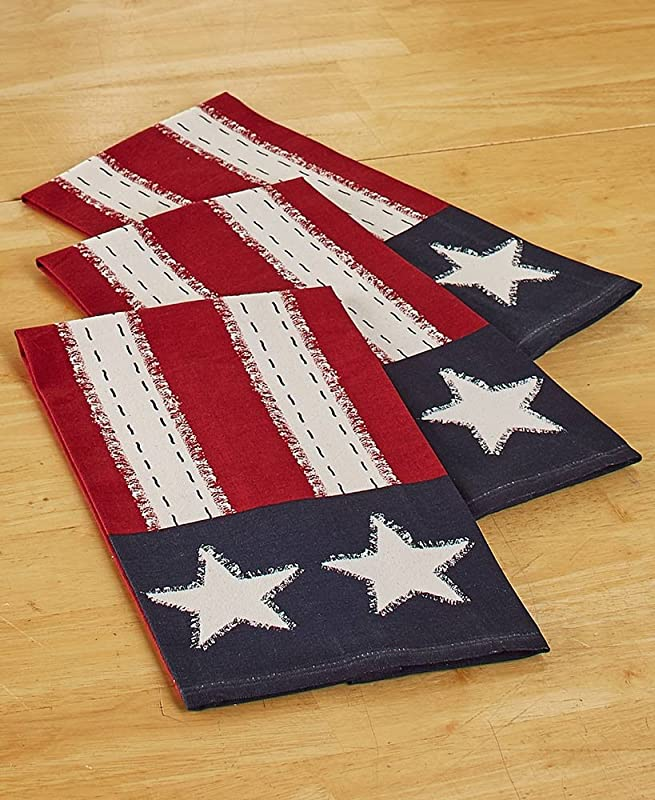 The Lakeside Collection Set Of 3 Star Spangled Kitchen Towels