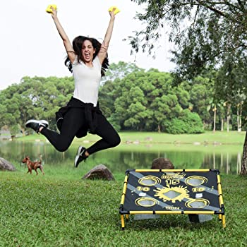 A11N Portable 2 in 1 Cornhole Game Set for Bean Bag Toss & Golf Cornhole Chipping Game - with 8 Bean Bags & Carrying Bag