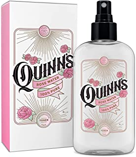 Quinn's Rose Water Spray. Facial Toner Mist with Pure Rosewater. Alcohol Free Moisturizer and Skincare for Face, Hair and more. 8 ounce.