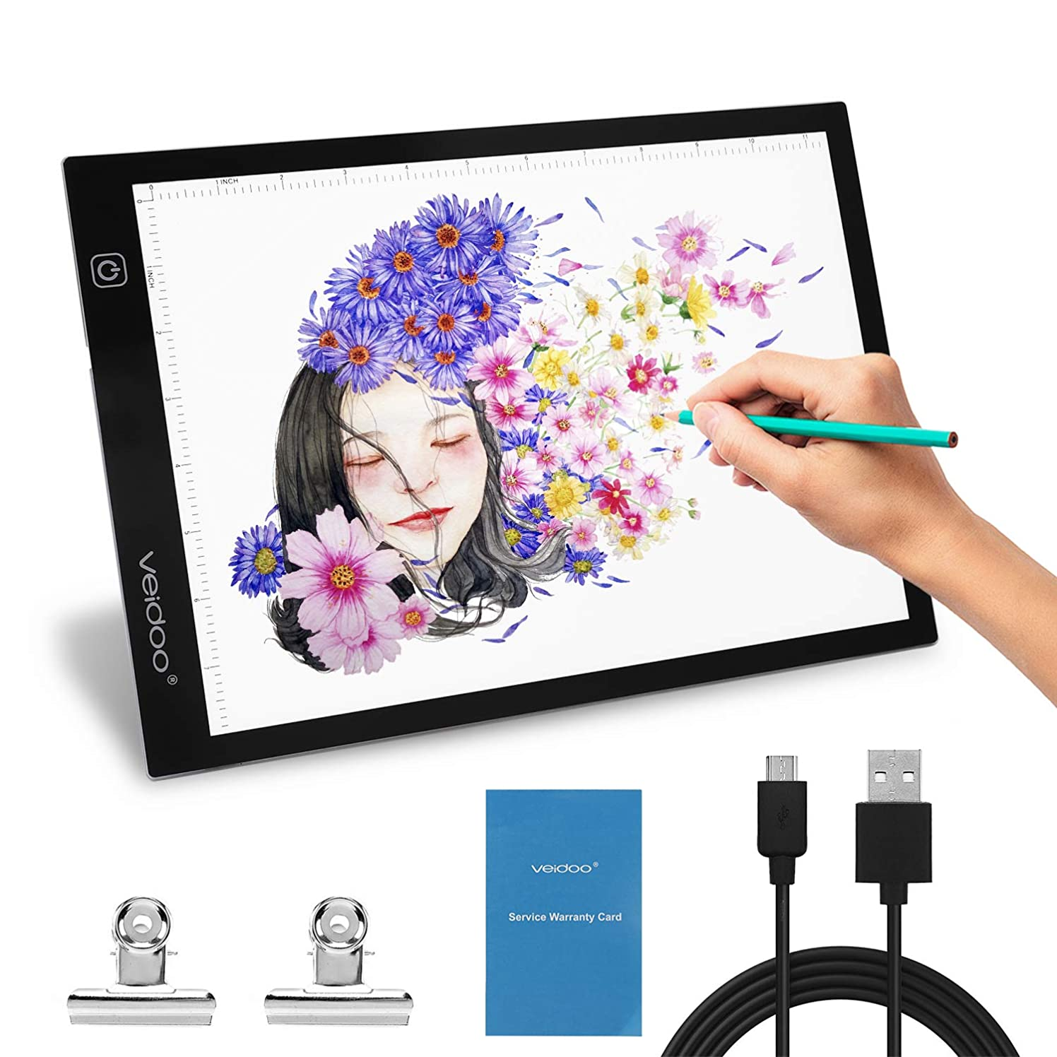 Tracing Light Box, Veidoo A4 LED Tracer Light Pad/Box/Board for Artists, Drawing, Sketching, Animation, X-ray Viewing, Tattoo Transferring